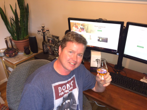 John gets bonus points for browsing our website while toasting Hibiki!