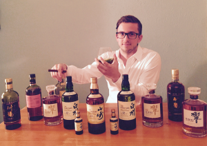 Skyler from Austin toasts from his impressive collection.