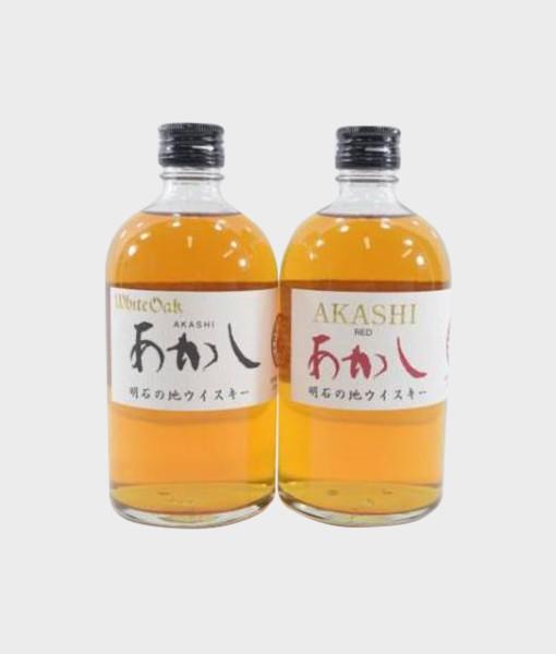 Akashi White & Red Oak Bottle Set